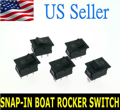 Pin Snap - 5X AC ON/OFF 3 PIN Terminal Snap-in Boat Rocker Switch Black 6A/250V 10A/125V US