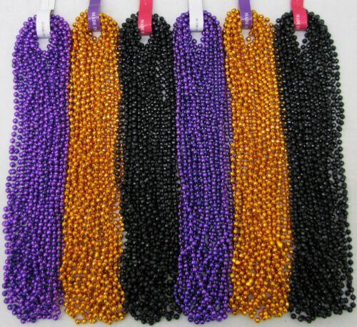 Mardi Gras Beads Purple Orange Black 6 dz Halloween Parade Party 72 Necklaces