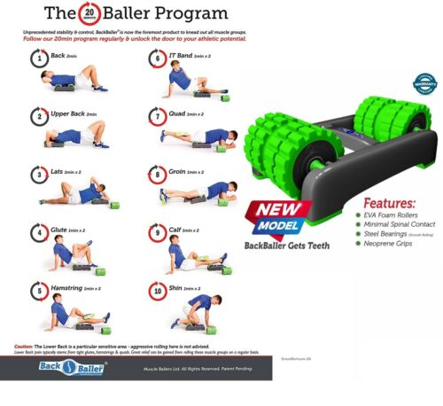BackBaller Dual Mounted Foam Roller Ridged Trigger Point Back Pain Muscle Relief
