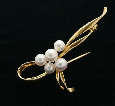 Vintage Mikimoto 18K Yellow Gold Akoya Pearls Brooch Pin