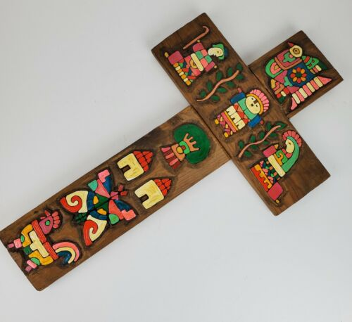 Vintage Mexico FOLK ART Wood Cross Hand Made Painted 11.5x20 Inch