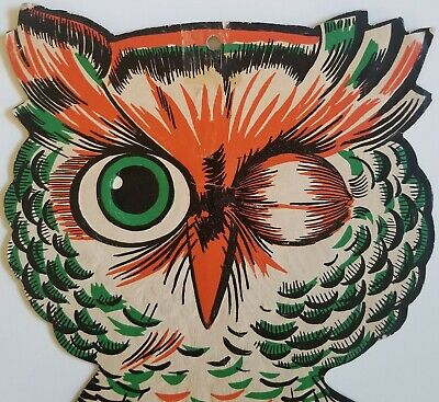 1950's Halloween Decorations (1950s Die Cut Embossed Winking Owl Halloween Decoration )