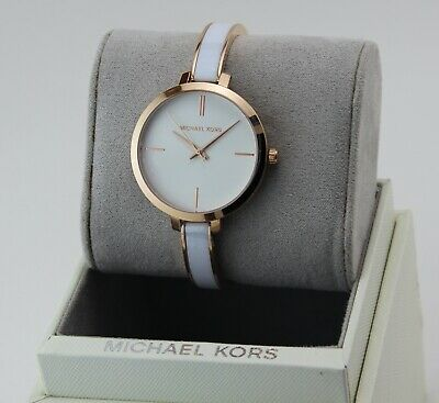 NEW AUTHENTIC MICHAEL KORS JARYN ROSE GOLD WHITE BRACELET WOMEN'S MK4342 WATCH
