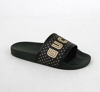 Gucci Women's GUCCY Star Black Supreme Coated Canvas Slide Sandal 519996 1085