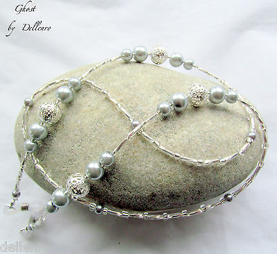 GHOST.  BEADED SILVER FILIGREE EYEGLASS GLASSES SPECTACLES CHAIN HOLDER CORD