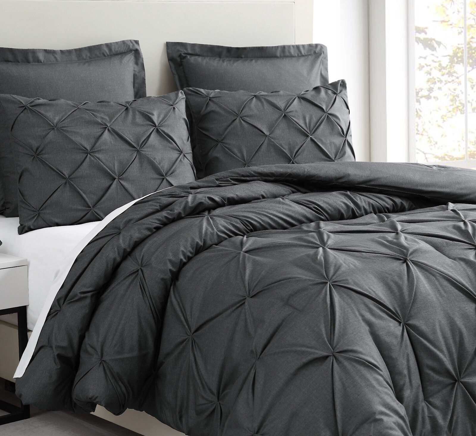 Pinch Pleat Charcoal Grey Comforter Set Pintuch Bed Cover fo