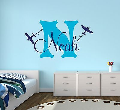 Personalized Airplanes Name Wall Decal Boys Nursery Wall Decor Vinyl Sticker