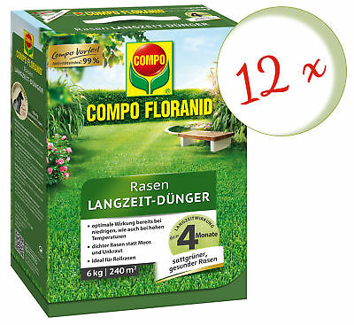 Savings Set: 12 X Compo Floranid Lawn Fertilizer, 6 KG
