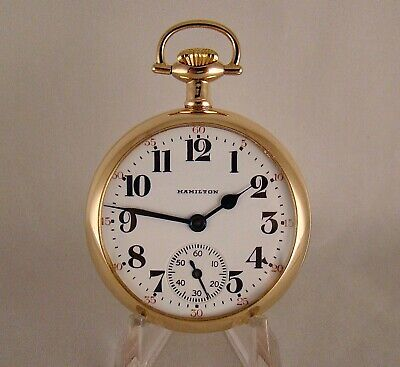 """122 YEARS OLD HAMILTON """"960"""" 21j 14k GOLD FILLED OPEN FACE 16s POCKET WATCH"""
