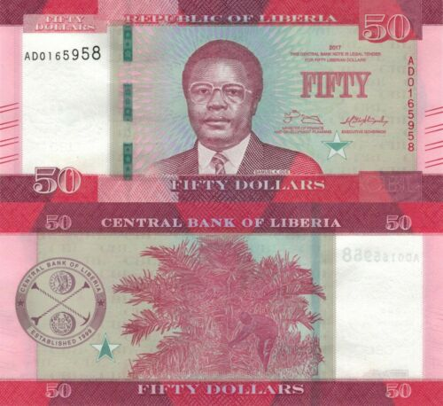 Liberia 50 Dollars (2017) - Samuel Doe/Palm Nuts/p34b UNC