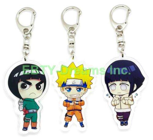 Set of 3 Naruto Anime Acrylic Keychain Uzumaki Naruto, Rock Lee, Hyuuga Hinata