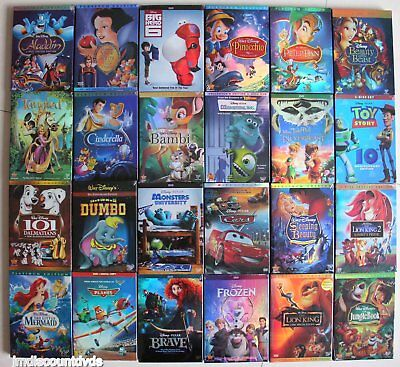 Lot of 10 Disney DVD:Aladdin,Snow White,Sleeping Beauty,Tangled,Peter Pan,Dumbo.