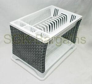 Plastic 2 Layer Tier Dish Drainer Rack Utensil Cutlery Kitchen White-Silver Side