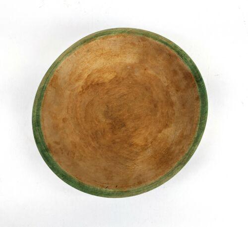 Vintage Munising Wood Bowl with Green Rim