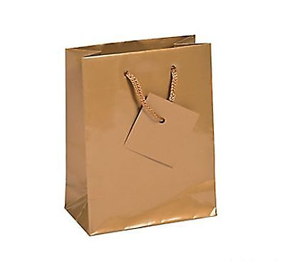 36 Small Gold Glossy Paper Gift Bags 50th Wedding Anniversary Party Favors