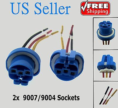 (2X 9007 9004 Female Wire Connector Wiring Harness Pigtail plug socket adapter)