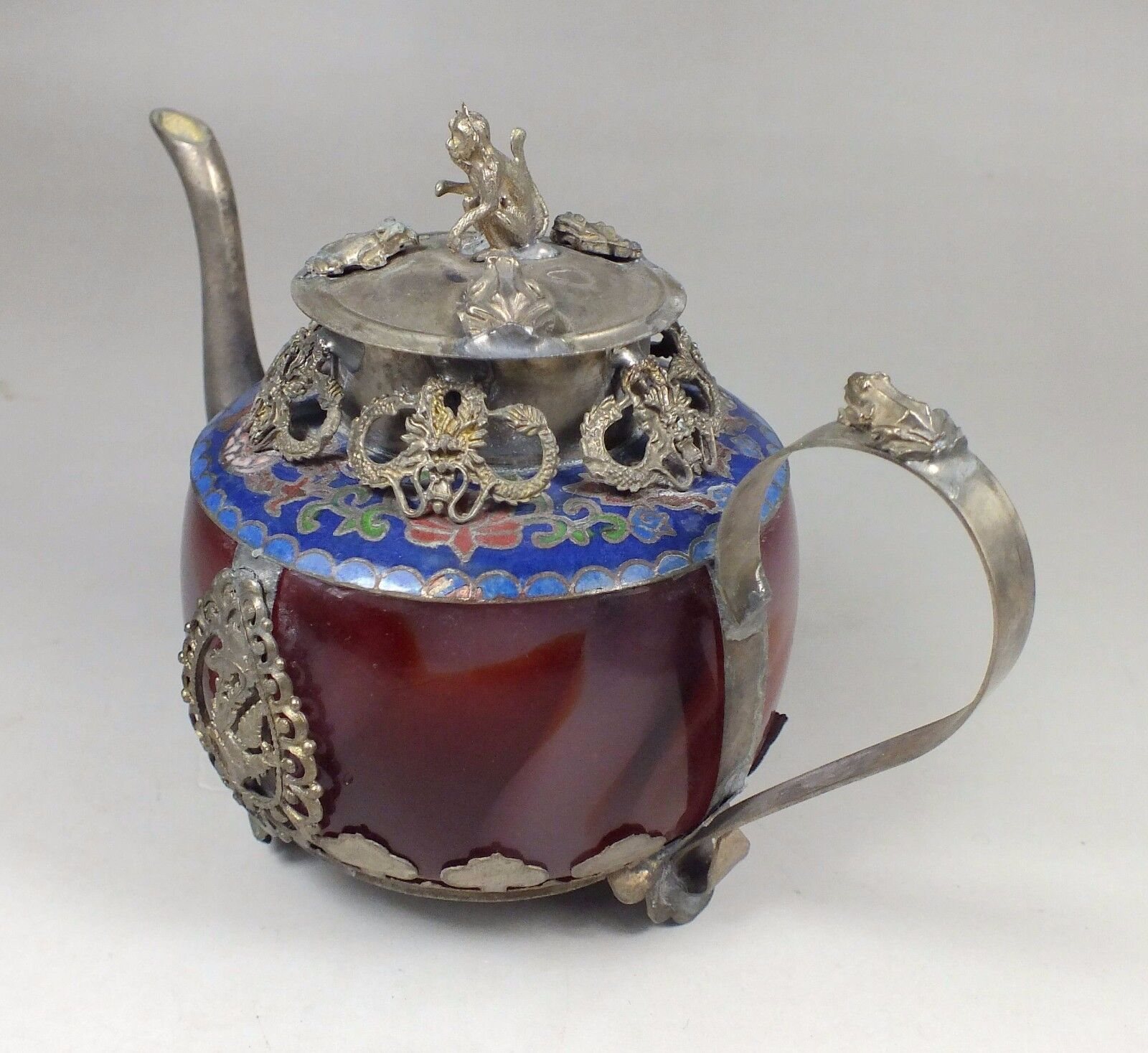 Chinese old red jade handwork  inlay tibet-silver dragon teapot Arts and Crafts