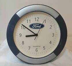 Ford Blue Oval 11inch Quartz Wall Clock. Tested and Working. Pre Owned