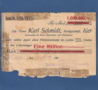 VERAU Oberpfälzer Tonbergbau GmbH 1 Million Mark 1923 VI  unbekannte Ausgabe
