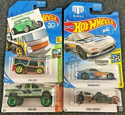 Hot Wheels - Lot of 4 - GOOD Cars / BAD Cards - ZAMAC - Mazda - RAM - E87
