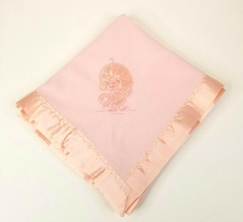 Vintage Quiltex Baby Blanket Duck Applique Pink Satin Edge 29 x 41 NWOT