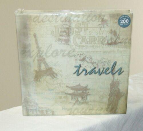 Prinz TRAVELS Photo Album - Memo-Write, Clear Overlays, Holds 200 4x6 Photos-NEW
