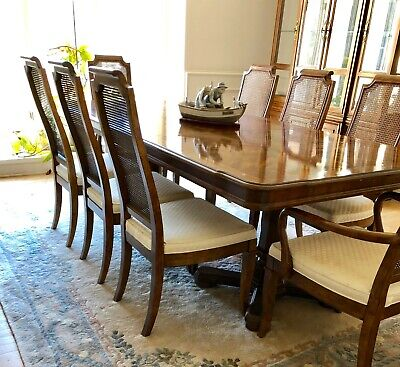 DREXEL HERITAGE Dining Room Set Table Chairs China Cabinet & Accy Cabinets EUC