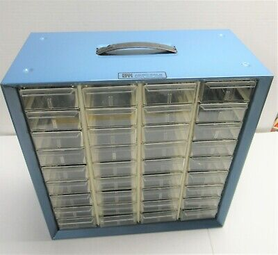 Vintage Akro Mils Metal 36 Drawer Cabinet Organizer Storage Box Bins Parts