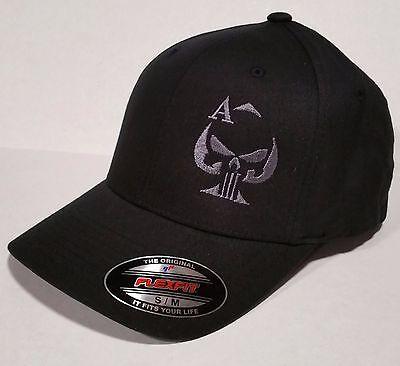 Ace Of Spades Punisher Sniper Embroidered Flexfit Black Cap Hat  5001
