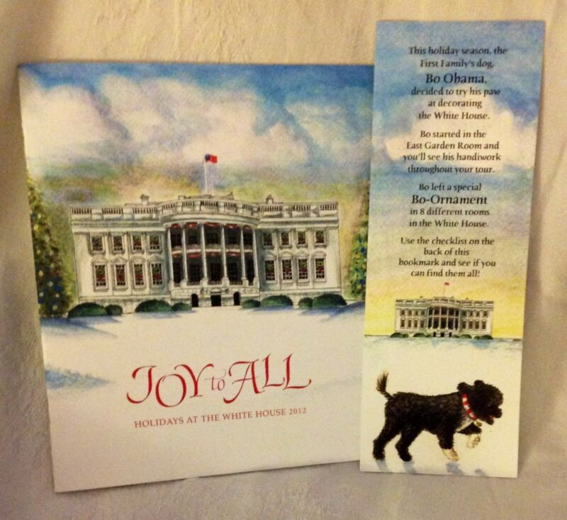 PRES OBAMA CHRISTMAS HOLIDAY  WHITE HOUSE TOUR BOOK CARD 2012 BO FIRST DOG