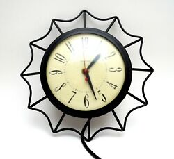 Vintage Wall Clock, United Mid Century Small Black Metal Starburst Clock