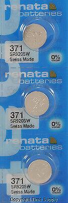 3 pcs 371 Renata Watch Batteries SR920SW FREE SHIP 0% MERCURY