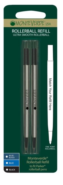 MONTEVERDE ROLLERBALL REFILLS TO FIT PARKER ROLLERBALL PENS - P222 Fine point