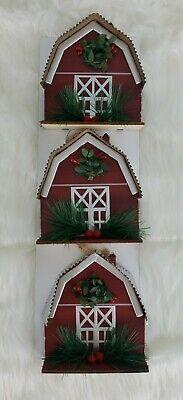 Red Barn Christmas Ornament Decor Farmhouse Country Rustic Farm Set Of 3 NEW
