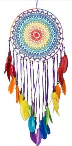 "Beautiful Native American Indian Rainbow LGBTQ Dream Catcher 14"" Chakra OMA"