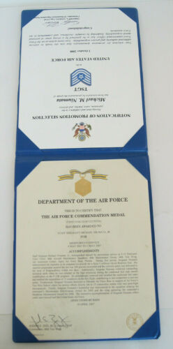 Department of the Air Force Promotion Selection & Commendation Medal Certificate