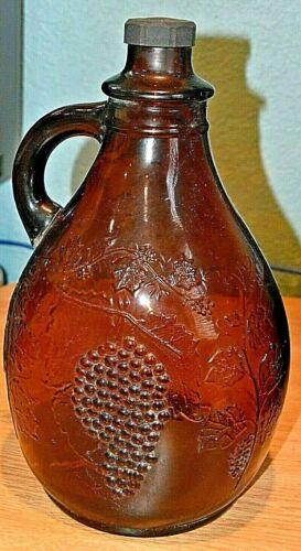 VINTAGE  EMBOSSED BROWN GLASS  1 GALLON WINE JUG/BOTTLE PRE-OWNED