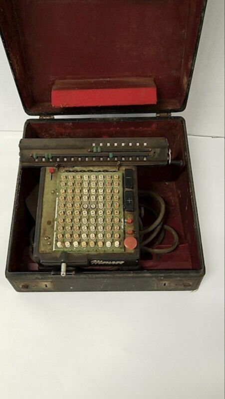 Monroe High Speed Adding Machine Calculator Early 1900s Vintage With Case, Cord