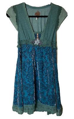 FREE PEOPLE Lace Ruffle Sheer Velvet Babydoll Velvet Dress Size 2