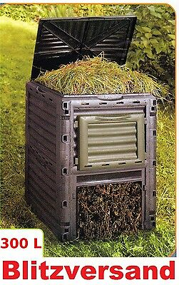 NEU Kunststoff Gartenkomposter Komposter 300 Liter Thermokomposter schwarz Tonne