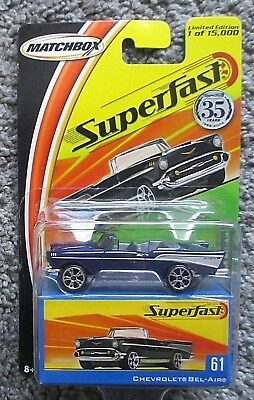 MOC 1/64 DIECAST MATCHBOX 2005 SUPERFAST 1957 BEL AIR 61 BLUE LIMITED /15000
