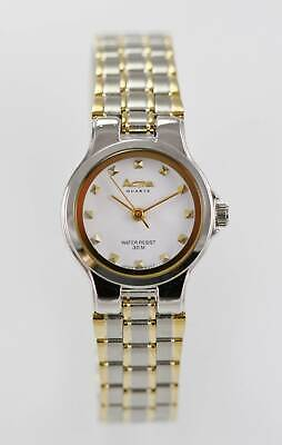 Activa Watch Women Stainless Steel Silver Gold 30m Water Resistant White Quartz