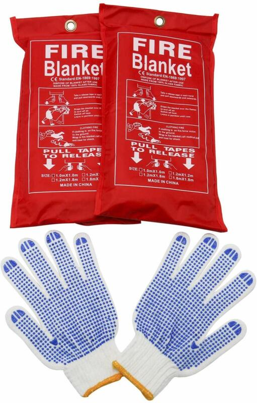 2 Pack Fire Blanket (39 x 39 in) Emergency Survival Fire Cover + 1 Free Gloves