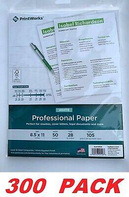 Printworks White Resume Paper 28lb105gsm Professional Printing Paper 300 Pack