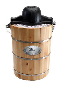 New Homemade Ice Cream Maker 6 Quart Electric and Hand Crank Option Wood Bucket