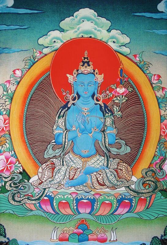 "50""BLESS EMBROIDERED BROCADE SCROLL TIBET THANGKA: BLUE MANJUSHRI POWER OF HEAL="