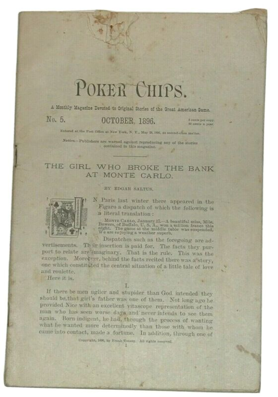 POKER CHIPS ~ A MONTHLY MAGAZINE October, 1896 No. 5 of 6 - MISSING COVER