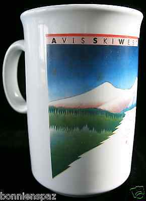 Vintage Avis Ski West Collectible Cup  Snow Skiing Mug  Travel  Car Rental  Htf