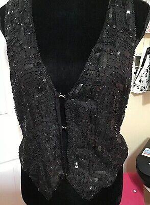SWEET SUE 100% Silk Wmns Vintage Black Vest Sequined Beaded Embellished Sz Med Wmns Sweet