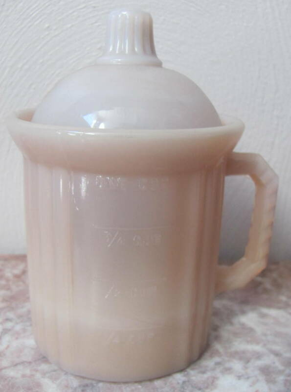 Dry Measuring Cup w/ Lid - Pink Milk Glass - USA - 2 Piece